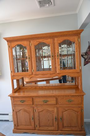 Lot 005 Oak Wood Buffet Server- Hutch with Storage Drawers / Cabinets 78.875H x 57.5W x 17.75L ( CONTENTS NOT INCLUDED)PICK UP IN SEAFORD, NY