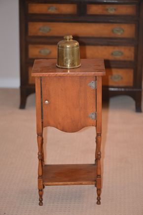 Lot 018 H.T. Cushman- Bennington,VT. Smoker  Vintage/Antique Smoking Stand w/Copper Tobacco Humidor /Metal Lined Cabinet  approx. 26H PICK UP IN GLEN COVE, NY