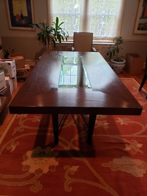 Lot 008 Custom Mid Century Style Dining Table Wood Glass Center 29.25H x 44W x 86D PICK UP IN GREAT NECK,NY