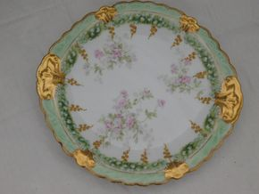 Lot 017 LS-S Limoges France 10.5 Plate with Pink Flowers Gold painted Encrusted Scalloped Edge Rim PICK UP IN CENTERPORT