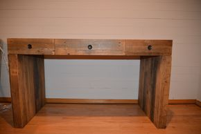 Lot 016  RUSTIC WOOD 3 DRAWER DESK 30H X 22.5 W X 52.5 L PICK UP IN PORT WASHINGTON