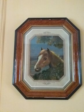 Lot 071 Antique Oil On Canvas Of Horse Behind Glass 22.5 x 18.5 PICK UP IN OLD WESTBURY