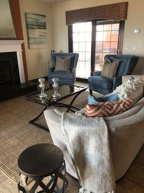 Lot 024 Living Room used for staging includes Couch, Glass Coffee Table and Pair of Grey/Blue Chairs and Rug  PICK UP IN LONG BEACH