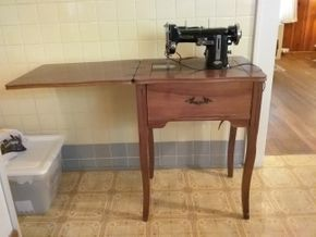 Lot 005 Necchi Sewing Machine and Table Needs New Belt 30H x 17.5W x 44.5L PICK UP IN WESTBURY
