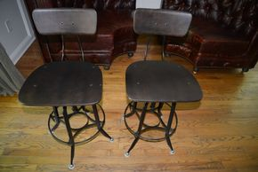 Lot 002 Restoration Hardware 1940S Vintage Toledo Bar Chair Lot of 2 Overall 37- 40.75H x 18.25W x 37D Footrest 9H PICK UP IN PORT WASHINGTON,NY