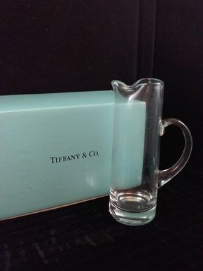 Lot 024 Tiffany and Co. Glass Pitcher in Box 11.75 Inches Tall