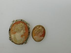 Lot 029 PICK UP IN RVC Lot of 2 Oval Shell Cameo Pins PICK UP IN ROCKVILLE CENTRE, NY