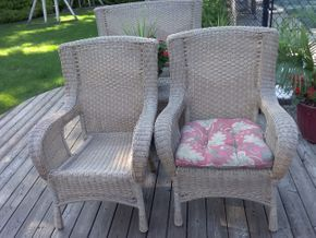 Lot 046 Pair Of Wicker Outdoor Wing Back Chairs 39H x 21W x 29L PICK UP IN COMMACK
