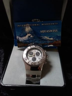 Lot 047 Aquaswiss Silver and White Watch PICK UP IN GARDEN CITY