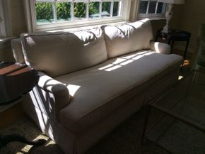 Lot 002 Upholstered Light Colored Sofa 33H x 42W x 87L PICK UP IN CENTERPORT