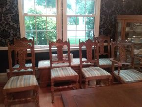 Lot 002 Lot Of 5 Oak Hand Carved Side Chairs and 1 Arm Chair With Fabric Seats 41H x 17W x 19L PICK UP IN ROCKVILLE CENTRE