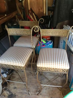 Lot 029 3 Metal with Fabric Stools Some stains 38Hx 15w x 15L PICK UP IN CENTERPORT