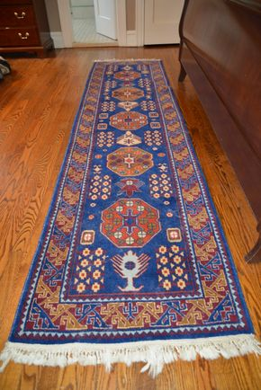 Lot 005 Handmade Runner Rug 117L x 31W PICK UP IN GARDEN CITY