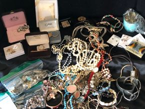 Lot 011 Large Lot of Jewelry including costume, gold, sterling ITEMS MUST BE PICKED UP IN LONG BEACH