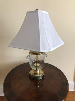 Lot 065 Brass/Crystal Lamp 25 inches High