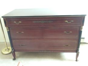 Lot 002 Rway Mahogany 3 Drawer Dresser 34x 22.5 x 49 PICK UP IN N MASSAPEQUA