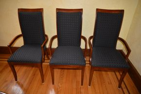 Lot 030 Lot of 6 Wood Upholstered Arm Chairs 40H x 31W x 31.625L PICK UP IN  MALVERNE, NY