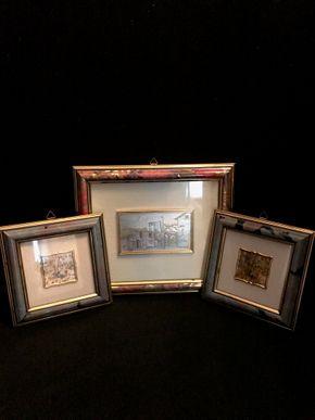 Lot 024 Lot of 3 Framed Prints On Sterling Silver. Two 6 In. Frames - 2 In. Print. One 8.5 In. X 9.5 In. Frame - 5 In. X 3 In. Print. PICK UP IN BELLMORE.