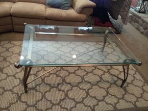 Lot 039 Glass and Brass Coffee Table 17H x 34W x 49.5L PICK UP IN COMMACK