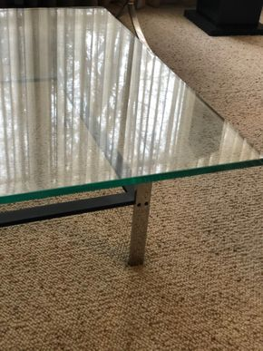 Lot 008 PU Glass Square Coffee Table 42inches H