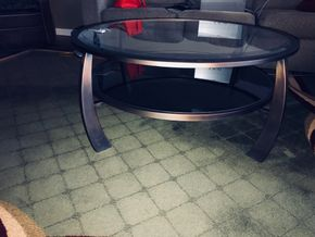 Lot 036 Wood/Metal Glass Round Coffee Table. 18H X 40. PICK UP IN ROCKVILLE CENTRE.