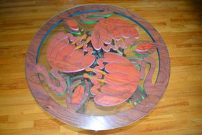 Lot 010 Glass Top /Wood Carved Painted Base Table 19H x 36.625W PICK UP IN PORT WASHINGTON, NY