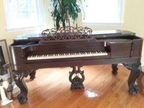 Lot 050 Ernest Gabler 1870s Square Grand Hand Carved Rosewood Piano With Ivory Keys 37H x 37D x 78L PICK UP IN OLD WESTBURY
