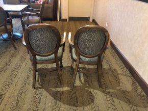Lot 036 (2) wood arm chairs in walnut finish - fabric on chairs  Angelica in Cafe Brown PICK UP N ROSLYN