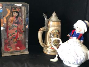 Lot 009 Lot of 4 souvenir items including Madame Alexander doll, Asian souvenir doll, Stein  ITEMS MUST BE PICKED UP IN LONG BEACH ON JAN 31ST
