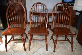 Lot 002 Lot of 3 Wood Chairs  40H x 17.75W x 17.75L PICK UP IN ROCKVILLE CENTRE
