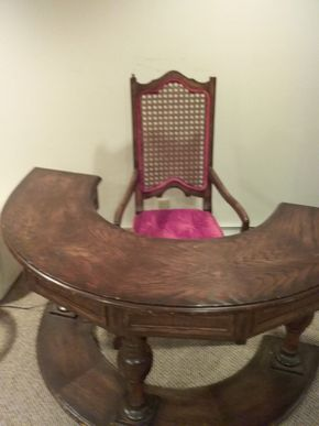 Lot 013 Demilune Wood Desk With Chair 29H x 14W x 59L PICK UP IN OCEANSIDE