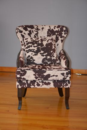 Lot 003 ANIMAL PRINT WEST ELM UPHOLSTERED CHAIRS W/NAIL HEAD TRIM 35HX28WX24L  PICK UP IN PORT WASHINGTON