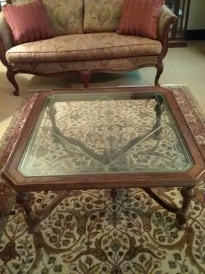 Lot 005 Ethan Allen Wood and Glass Coffee table 27x 37.5 x 37.5 PICK UP IN GARDEN CITY