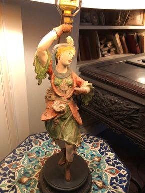 Lot 118 Painted Metal Figural Lamp 27.5Hx14Wx6Base