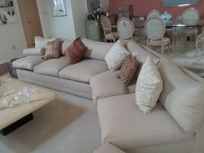 Lot 007 2 Piece Upholstered Sofa Excellent condition 27H x 37W x 156.5 L PICK UP IN MANHASSET