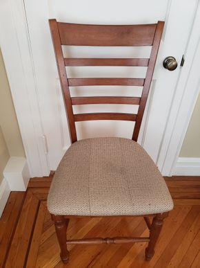 Lot 020 PU/Wood Chair w/Upholstered Seat  38.5H x 19W x 18L PICK UP IN GARDEN CITY, NY