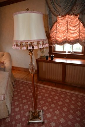 Lot 036 Brass Standing FloorLamp w/Silk Shade 64H x 10W x10L PICK UP IN  MALVERNE, NY