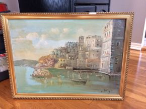 Lot 031 Oil On Board Illegibly Signed Frame Damaged 27.5 X19.5 PICK UP IN NEW HYDE PARK
