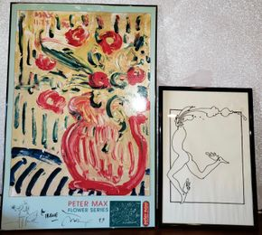Lot 006 PP-PU/Lot of 2 Peter Max Signed Art Work  Poster Flower Series 11-23-96  35.875H x 23.625W and Print 21.25H x 14.625W AS IS   PICK UP IN WEST ISLIP, NY