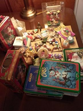 Lot 003 Lot Of Vintage Figures Tins Toys and Cards Some Disney PICK UP IN WESTBURY