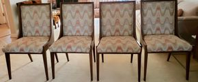 Lot 007 PU Lot of 4 Mid Century Upholstered Dining Chairs 35.75H x 19.5W x 18D PICK UP IN GREAT NECK, NY