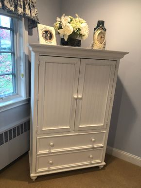 Lot 020 White Entertainment Armoire PICK UP IN PORT WASHINGTON