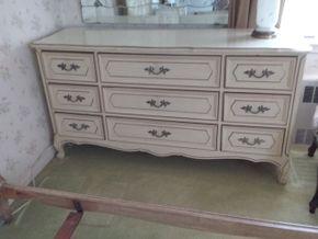 Lot 021 9 Drawer Wood Dresser 49H x 18.5W x 33.5L PICK UP IN GARDEN CITY