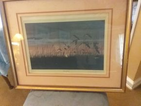 Lot 079 Framed Signed Eugene Anderson Bird Print  DOWN WIND 28.5 x 23 PICK UP IN WEST HEMPSTEAD