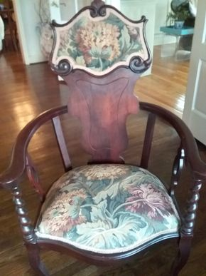 Lot 071 Antique Carved Mahogany and Upholstered Chair 41H x 20W x 24L PICK UP IN PORT WASHINGTON