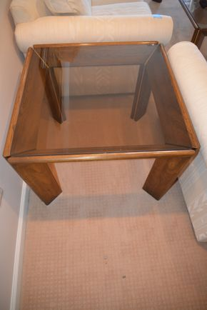 Lot 007 Glass Top Wood End Table 22H X 30W X 30L PICK UP IN GLEN COVE, NY