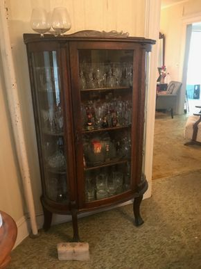 Lot 025 Antique Curio Cabinet with Curved Glass 63H x 13W x 38L PICK UP IN GARDEN CITY