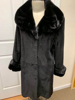 Lot 022 Black Sheared Mink with Long Hair Cuffs/Collar, Small Horizontal Grooving Size Med Length 36in Sleeve 30in Sweep 52in Style 3277 - - Item Num: 7571-26