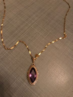Lot 021 14K Gold Amethyst Seed Pearl - 20 In. Chain. PICK UP IN BELLMORE.