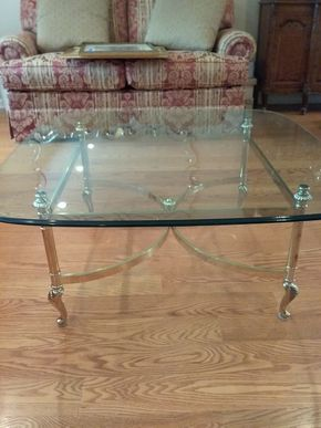 Lot 012 Brass and Glass Coffee table 17H x 38W x 38L PICK UP IN GARDEN CITY